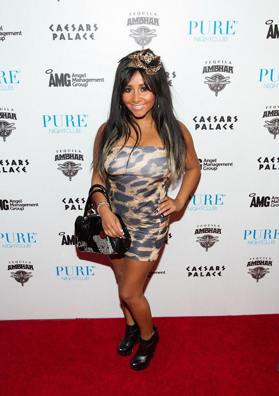 "Nicole ""Snooki"" Polizzi on red carpet at PURE Nightclub"