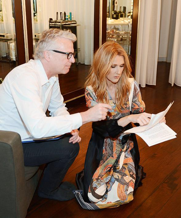 Musical director Scott Price and Celine Dion prepare backstage for Celine's emotional return to the Colosseum at Caesars Palace on February 23, 2016 in Las Vegas