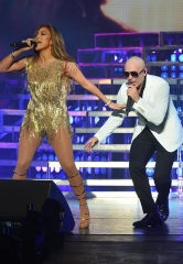 "Jennifer Lopez performs with Pitbull at ""Time of Our Lives Las Vegas"" at The AXIS at Planet Hollywood Resort & Casino"