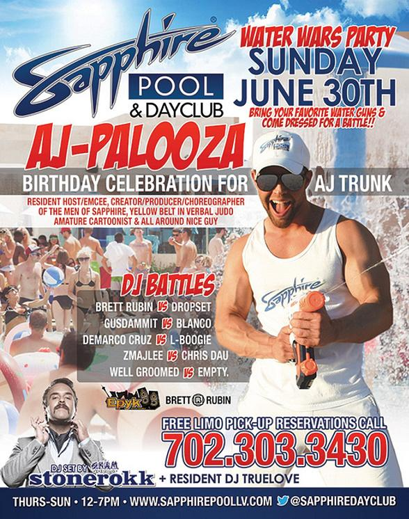 Sapphire Pool & Dayclub to Host Water Wars Party, AJ Trunk's Birthday and DJ Battles on Sunday, June 30