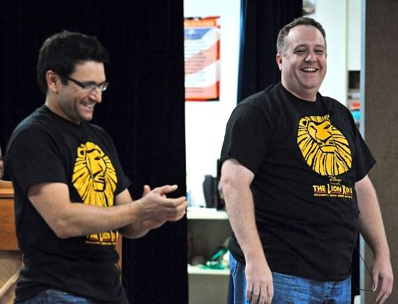 Aaron De Jesus, Adam Kozlowski perform at surprise LION KING assembly at Walter Long Elementary School