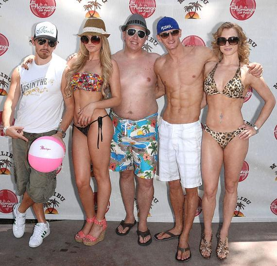"""Absinthe"" cast members at GO Pool (L to R – Tony Hernandez, Angel Porrino, Paul Matthew Lopez, Misha Furmanczyk and Oxana Solamanchuk)"