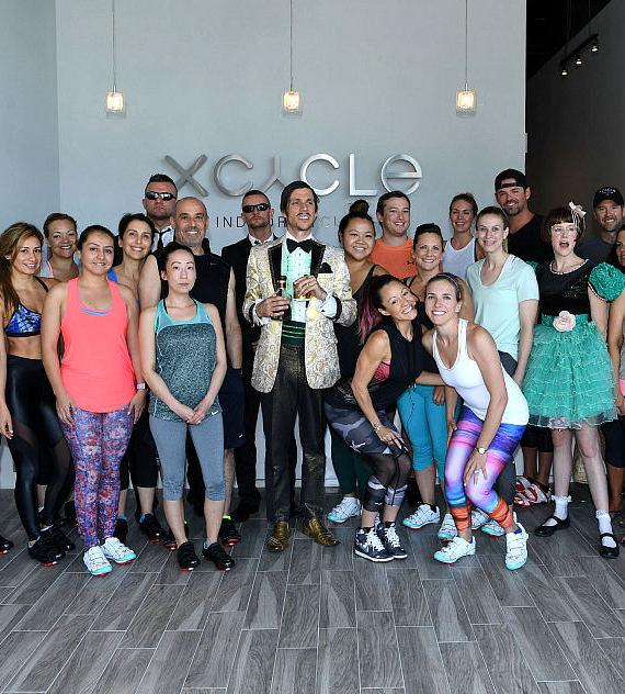 Absinthe cast members pose with attendees and owners Jen Barnett and Ginger Melien
