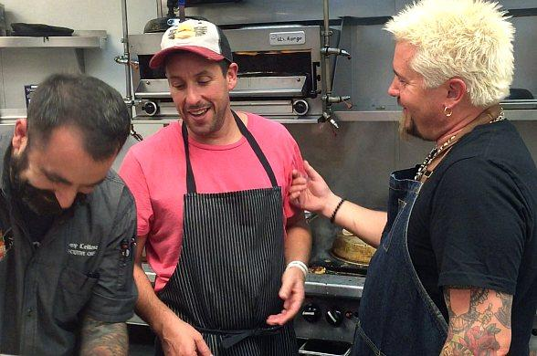 Comedian Adam Sandler and Famous Friends Dine at Guy Fieri's Vegas Kitchen & Bar at The LINQ Hotel & Casino