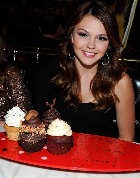 ctress Aimee Teegarden celebrates her birthday at Sugar Factory American Brasserie at Paris Las Vegas