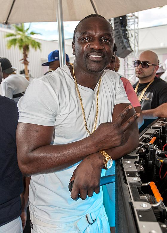 Akon at the official Sports Illustrated Fight Weekend Party inside Foxtail Pool Club