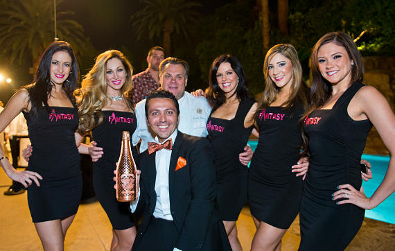 Alan Semsar with cast of FANTASY at Luxor and Chef François Payard of Payard, Las Vegas
