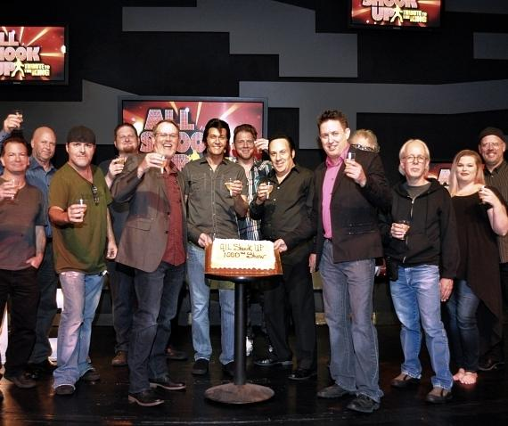 Cast and production crew of All Shook Up: A Tribute to the King toast to the show's 1,000th performance with champagne and cake during a special celebration on Wednesday, Oct. 26, 2016.