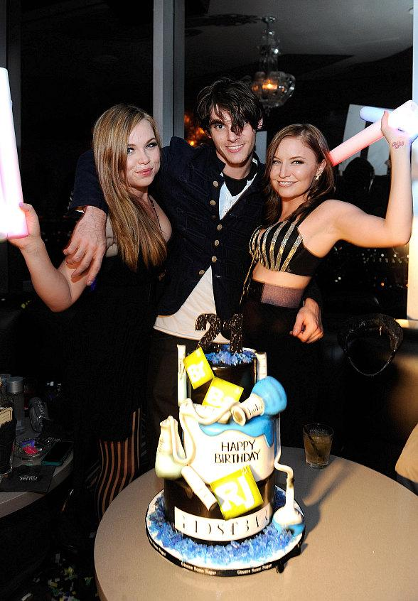 Amanda Fuller, RJ Mitte and Lindsey Haun (left to right) celebrate RJ's 21st birthday