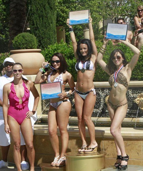 Amanda and winners at Azure Luxury Pool