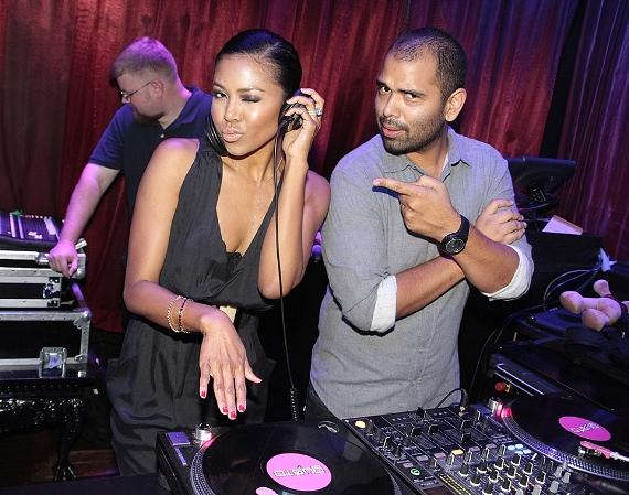 Amerie in DJ booth at LAX Nightclub