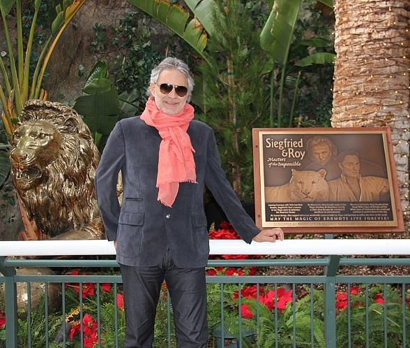 Classical and Pop Superstar Andrea Bocelli Visits Siegfried & Roy's Secret Garden and Dolphin Habitat