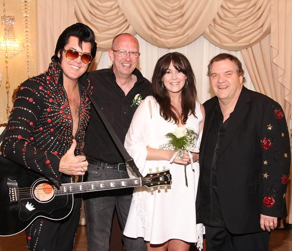 Grammy Award-Winning Musician Meat Loaf Walks Fan Down the Aisle at Graceland Wedding Chapel