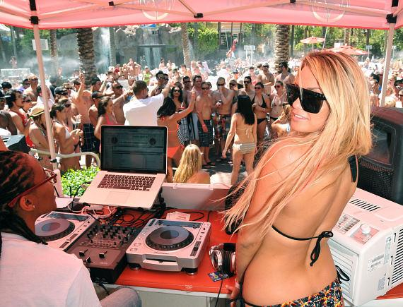 Angel Porrino in the GO Pool DJ Booth