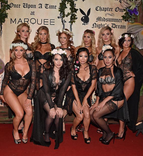 Anna Sophia Berglund, Kayla Rae Reid, Dominique Jane, Heather Rae Young, Alexandra Tyler, Val Keil, Audrey Aleen Allen, Ashley Doris, Hiromi Oshima, and Shanice Jordyn at Playboy Midsummer Night's Dream party at the Marquee Nightclub