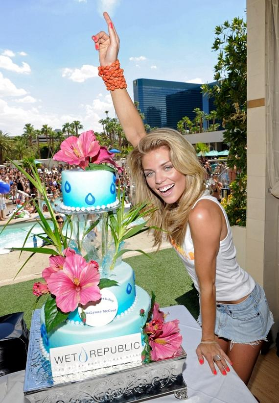 AnnaLynne McCord with Birthday Cake at WET REPUBLIC