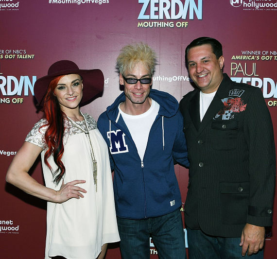 April Leopardi Anneberg, Murray Sawchuck and Douglas Leferovich at Opening Night of Paul Zerdin Mouthing Off at Planet Hollywood Resort & Casino