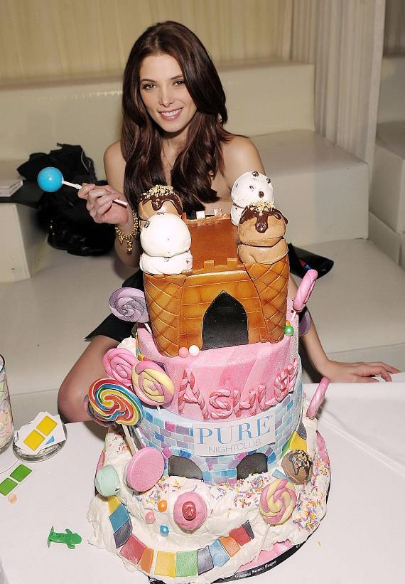 Ashley Greene with birthday cake at PURE Nightclub