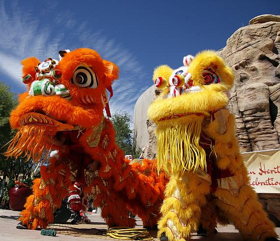 Lion dancers at Springs Preserve 8th annual Asian Heritage Celebration