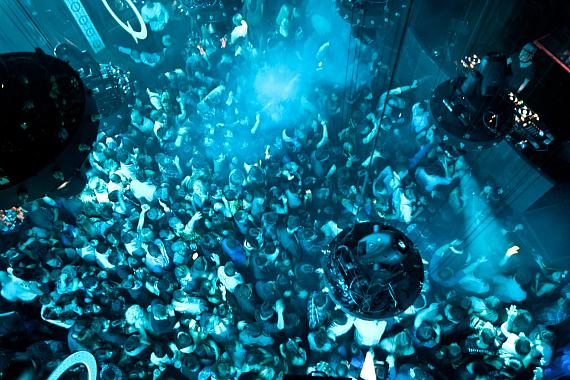Overhead shot of crowd at Marquee One Year Anniversary