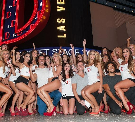 Aussie Hunks Male Revue pose with Miss D Legs