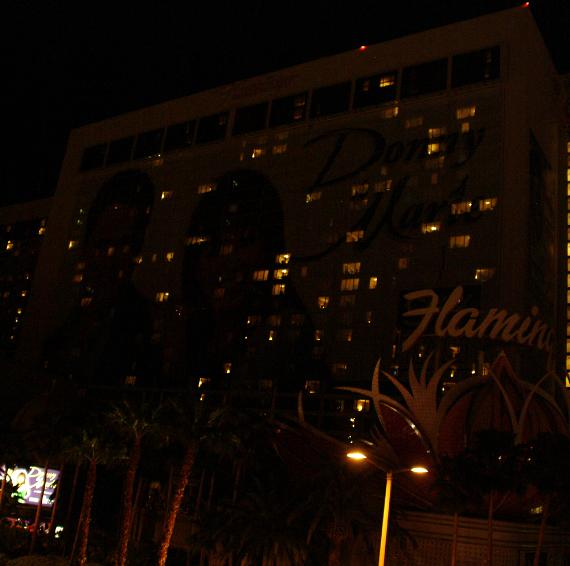 Flamingo Hotel with exterior lights turned off