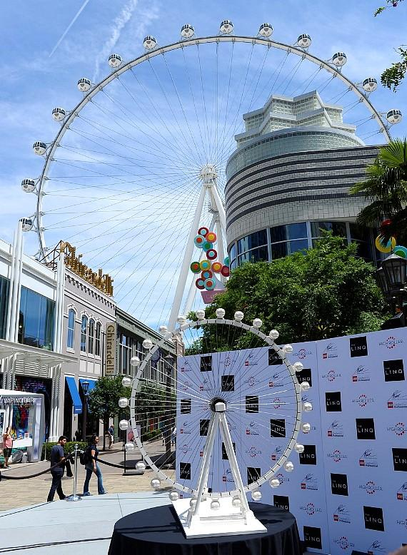 This LEGO replica of the High Roller observation wheel is now on display at The LINQ in Las Vegas