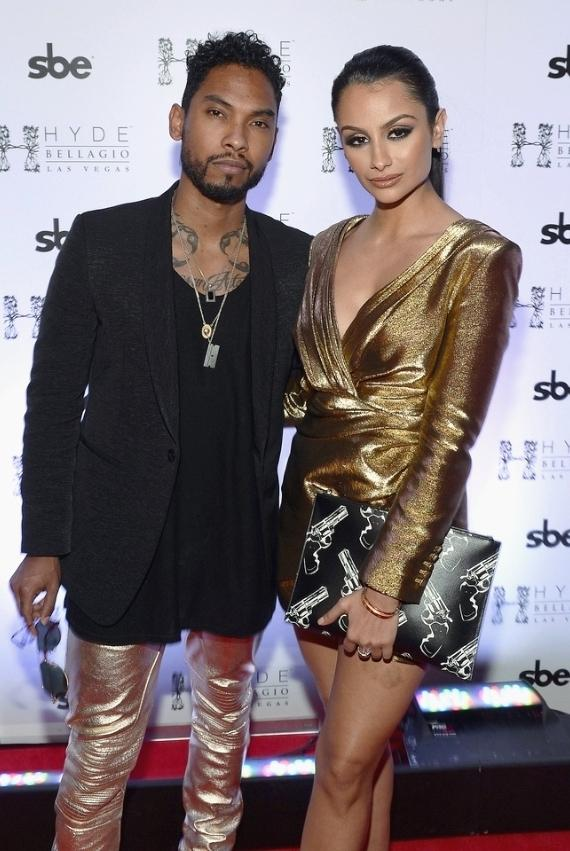 Miguel and girlfriend Nazanin Mandi on red carpet at Hyde Bellagio