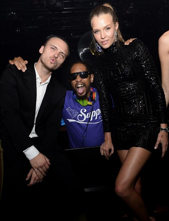 Singer/songwriter Alexander DeLeon, DJ Lil Jon and Jospehine Skriver celebrate Skriver's birthday at 1 OAK Nightclub at The Mirage Hotel & Casino