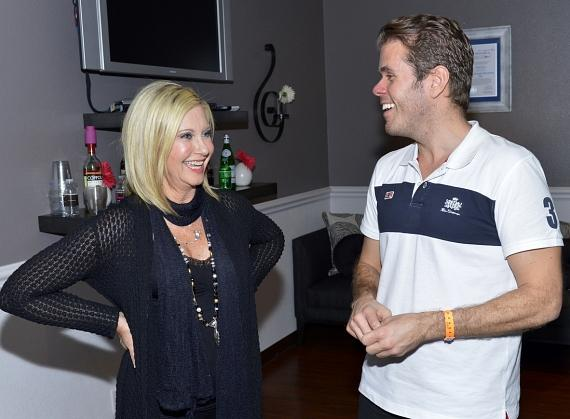"Olivia Newton-John with Perez Hilton backstage at ""Summer Nights"""