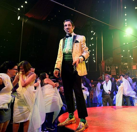 ABSINTHE cast member The Gazillionaire appears during the ABSINTHE 4 year anniversary at Caesars Palace on April 1, 2015 in Las Vegas