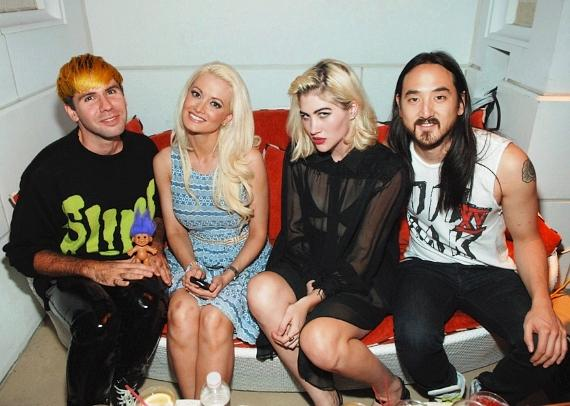 Holly Madison with friends and Steve Aoki at Surrender Nightclub