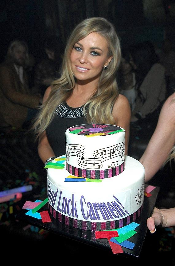 Carmen Electra with cake