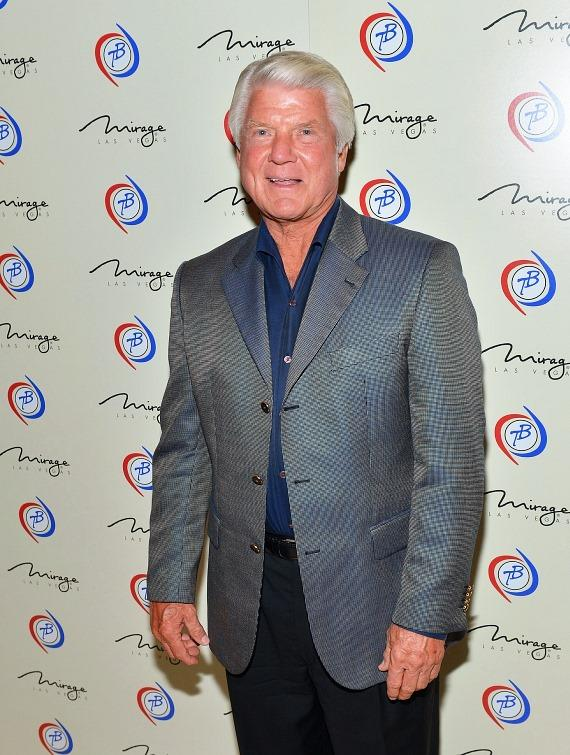 Television personality and former National Football League head coach Jimmy Johnson arrives at the 'Terry Bradshaw: America's Favorite Dumb Blonde... A Life in Four Quarters' show premier at The Mirage Hotel & Casino