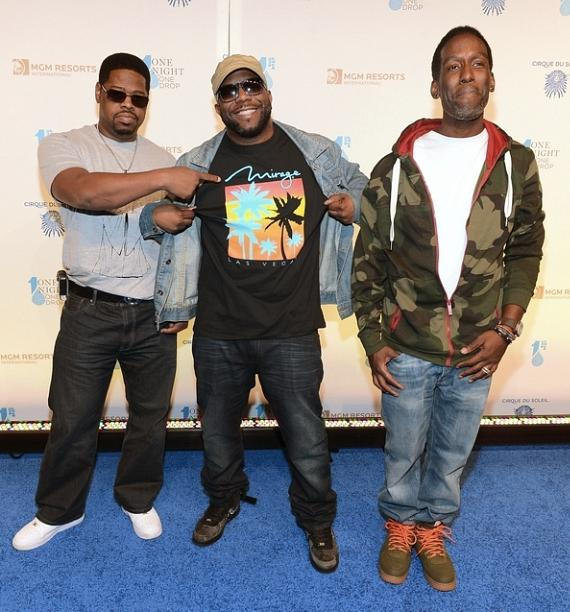 Singers Nathan Morris, Wanya Morris and Shawn Stockman of Bioys II Men arrive at Cirque du Soleil's 2nd annual 'One Night for One Drop'