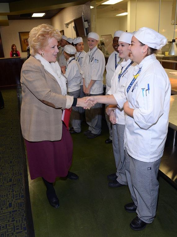 Mayor Carolyn Goodman greets the chefs of Le Cordon Bleu