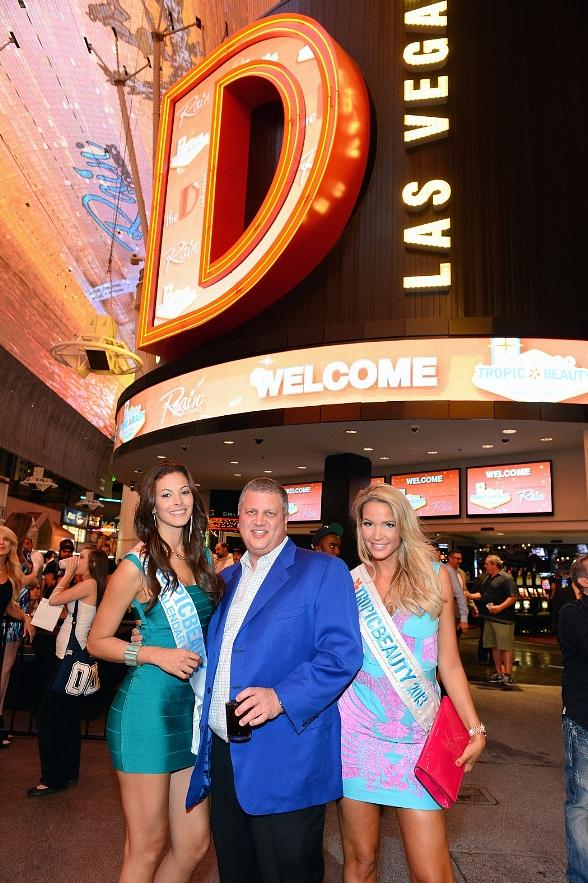 Miss TropicBeauty 2013 Ligia Hernandez, The D Las Vegas Owner Derek Stevens and Miss TropicBeauty 2013 Linda Zimany attend the TropicBeauty meet-and greet sponsored by Rain Cosmetics at The D Las Vegas