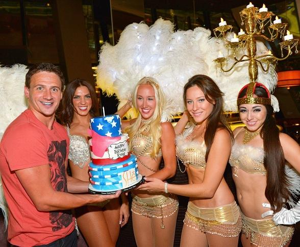 Lochte receives surprise birthday cake from SHe dancers at SHe by Morton's