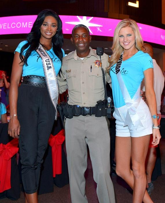 "Miss USA 2012 Nana Meriwether, Sergeant Tom Jenkins of ""Vegas Strip"" and Miss Nevada Chelsea Caswell"