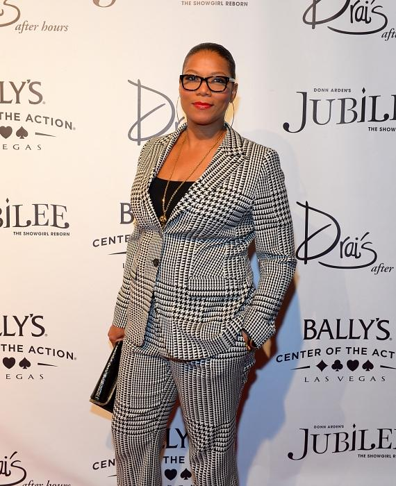 Actress/singer Queen Latifah arrives at the 'Jubilee!' show's grand reopening at Ballys Las Vegas