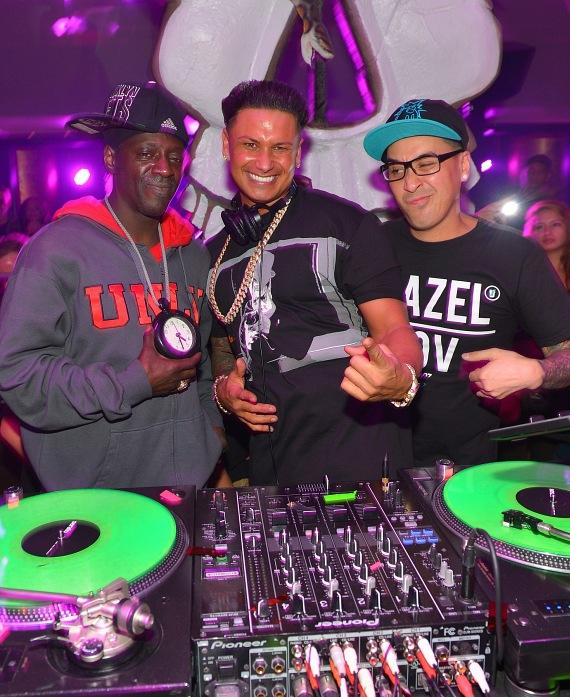 Flavor Flav, Pauly D and Kozmoe Alonzo at Haze Nightclub in Las Vegas
