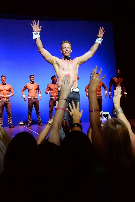 Ian Ziering on stage with Chippendales at Rio All-Suite Hotel and Casino