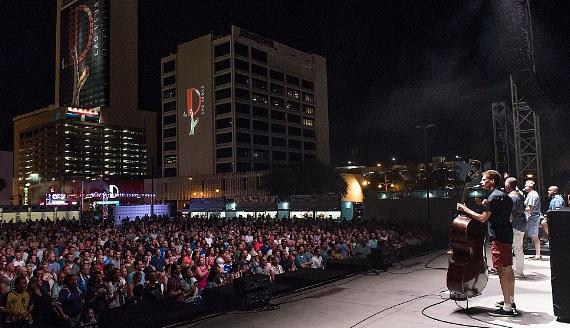 Barenaked Ladies with crowd at Downtown Las Vegas Events Center across from the D Casino Hotel Las Vegas