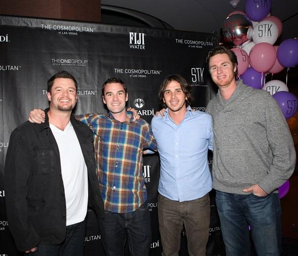 "Current star on ABC's ""The Bachelor"" Ben Flajnik pictured with friends and business partners"