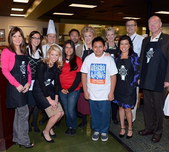 Beth Fisher (Channel 13), Ranna Daud (After-School All-Stars, Executive Director), Kathy Wesserman (Le Cordon Bleu, Chef Director of Education), Mark Levasseur (Le Cordon Bleu, Director of Career Services), Mayor Carolyn Goodman, Paula Francis (Channel 8), Steve Francis (Channel 13), Councilman Bob Beers, Mackenzie Warren (Channel 3), Karly & Gabriel (students from Von Tobel Middle School) and Olivia Fierro (Fox 5)