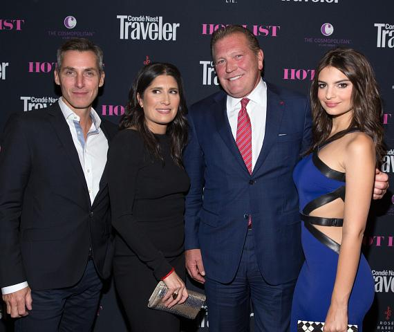 Bill Wackermann, Pilar Guzmán, John Unwin and Emily Ratajkowski at Condé Nast Traveler Hot List Party at The Cosmopolitan of Las Vegas