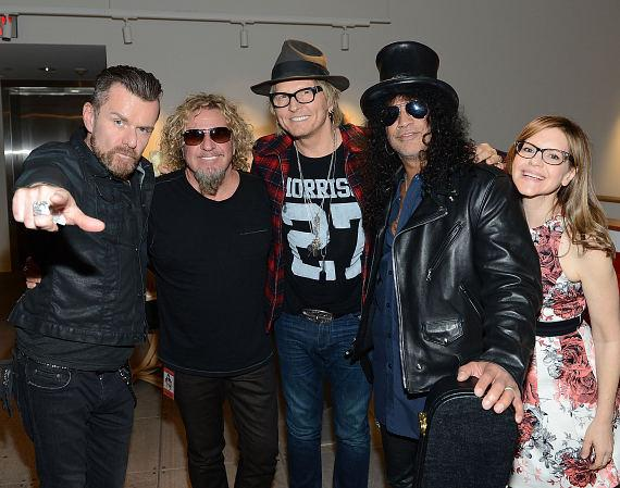 Billy Duffy, Sammy Hagar, Matt Sorum, Slash and Lisa Loeb
