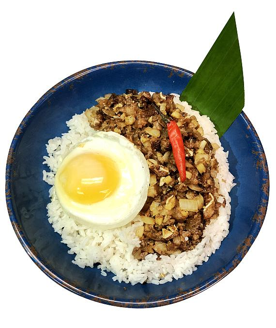 Classic Pork Sisig in a bowl with rice