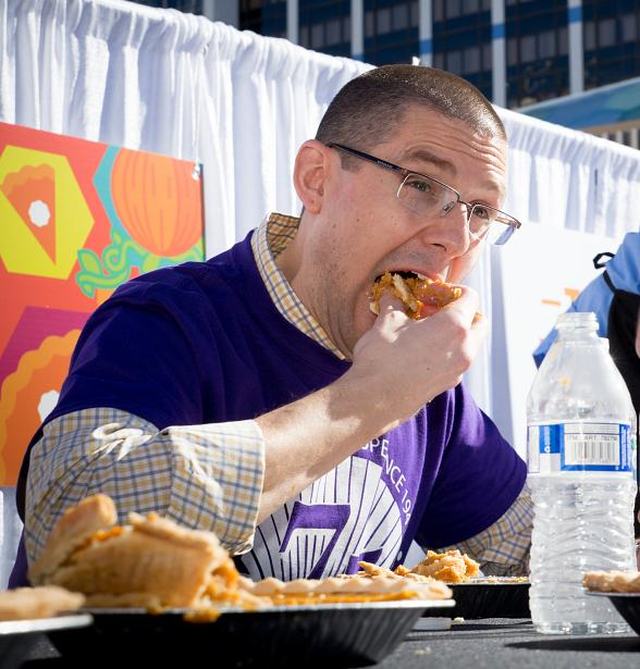 "Catholic Charities Victorious at Grand Bazaar Shops' ""Battle Cry for Pumpkin Pie"" Eating Contest"