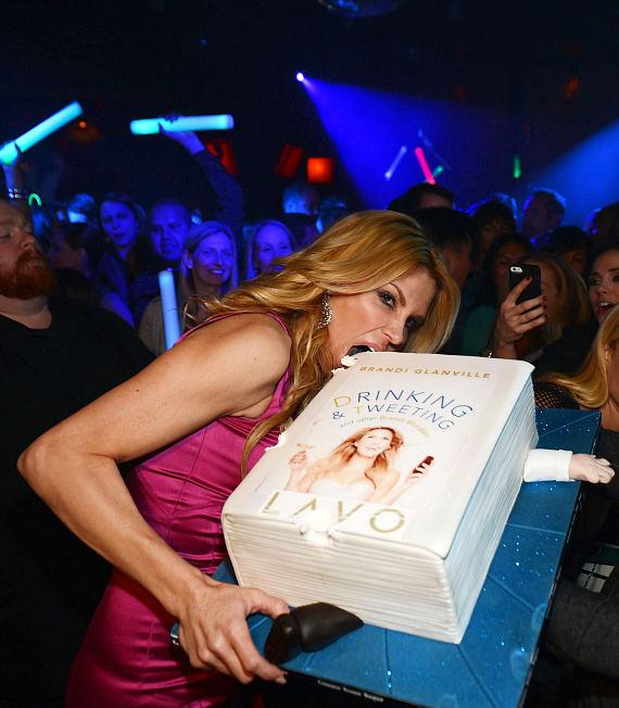 Brandi Glanville with cake at LAVO